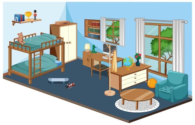 Wnętrze Sypialni Z Meblami W Kolorze Niebieskim Darmowych Wektorów