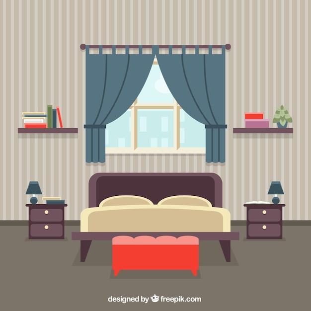 Wnętrze sypialni Darmowych Wektorów