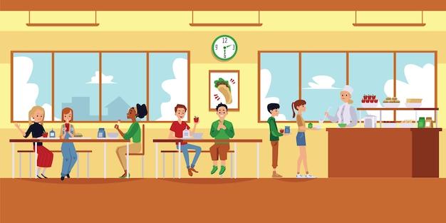 Wnętrze Szkolnej Kafeterii Z Kreskówkowymi Dziećmi Jedzącymi Jedzenie I Obiad Pani Nalewa Zupę Z Chochlą Dla Ludzi W Kolejce - Nowoczesna Scena Stołówki. Ilustracja Premium Wektorów