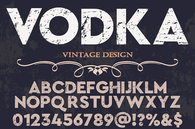 Wódka Projekt Etykiety Alfabetu Premium Wektorów