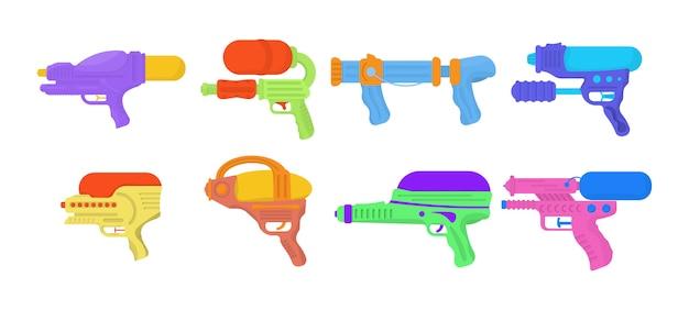 Wodni Pistolety Odizolowywający Na Białym Tle. Zabawki Do Broni Dla Dzieci. Zestaw Pistoletów Wodnych Z Zabawkami Dla Dzieci. Jasne, Kolorowe Ikony Dla Dzieci. Premium Wektorów