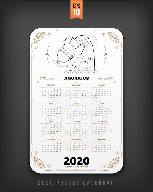 Wodnik Rok Zodiaku Kalendarza Kieszonkowy Układ Pionowy Kolor Czarny Ilustracja Koncepcja Stylu Premium Wektorów