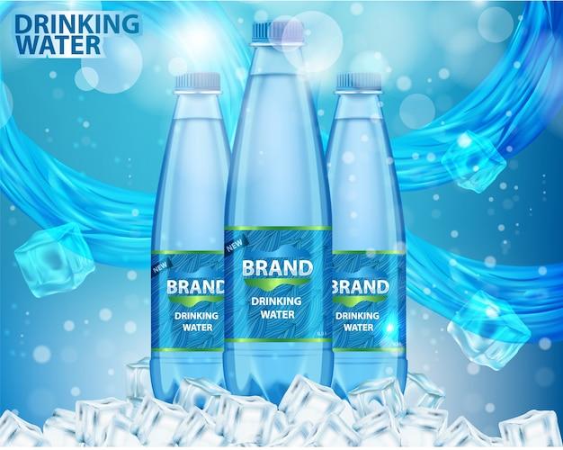 Wody Pitnej Reklamy Realistyczna Wektorowa Ilustracja Premium Wektorów