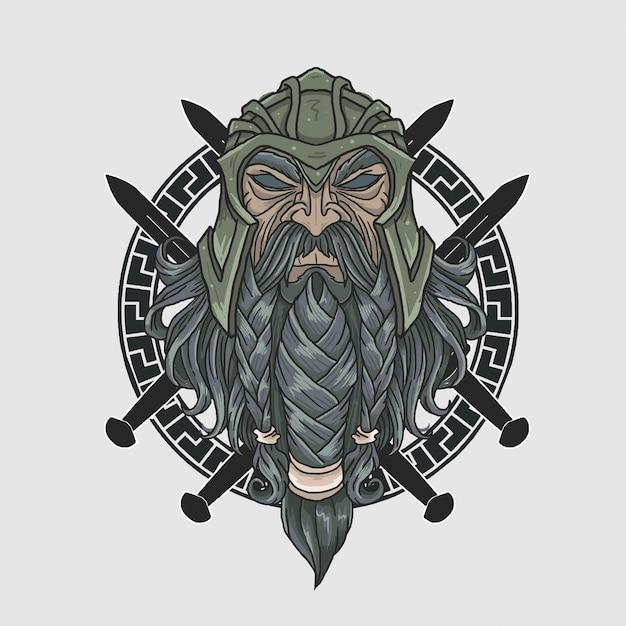 Wojownik z pełną brodą zbroją Premium Wektorów