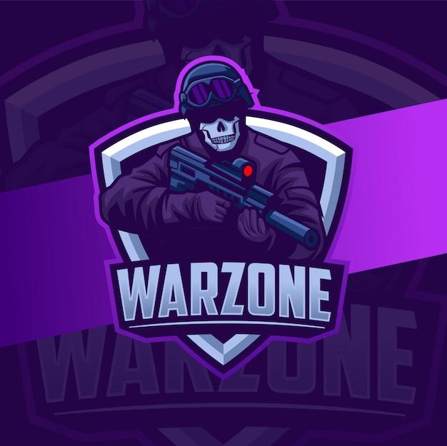 Wojskowa Maskotka Warzone Z Logo Projektu E-broni Premium Wektorów