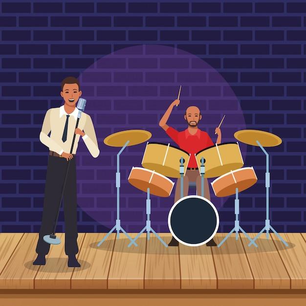 Wokalista I Muzyk Grający Na Perkusji, Zespół Jazzowy Premium Wektorów
