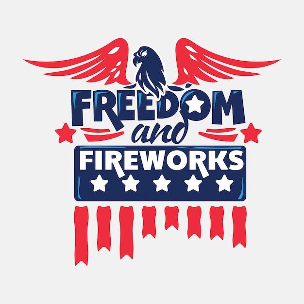 Wolność i fajerwerki. dzień niepodległości Premium Wektorów