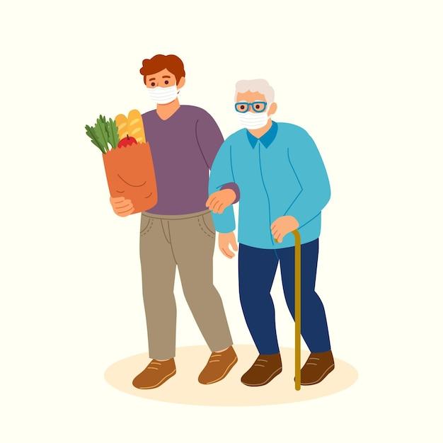 Wolontariusze Pomagają Osobom Starszym Premium Wektorów