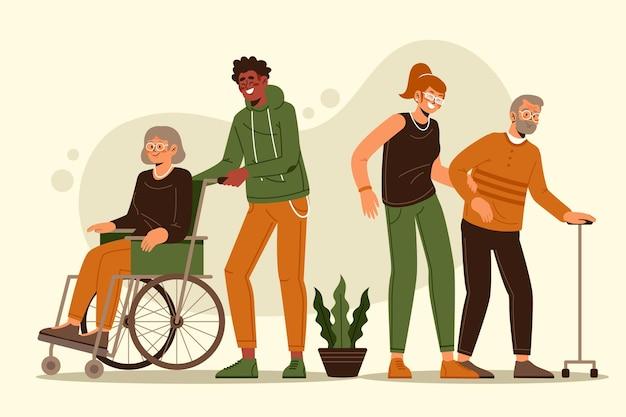 Wolontariusze Pomagają Osobom Starszym Darmowych Wektorów