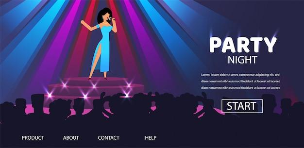 Woman Singer Perfomance Na Stage Night Club Party Premium Wektorów