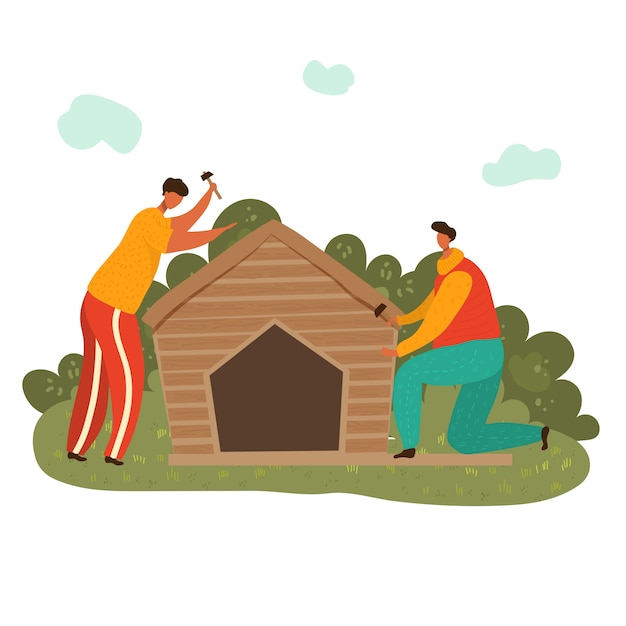 Woodworker Mężczyzna Buduje Drewnianego Dom Przy Miejscem Pracy Z Hummers, Płaska Ilustracja Odizolowywająca Na Bielu. Dwóch Mężczyzn Pracujących W Stolarstwie. Premium Wektorów