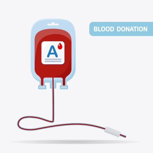 Worek Krwi Z Czerwoną Kroplą Na Białym Tle. Premium Wektorów