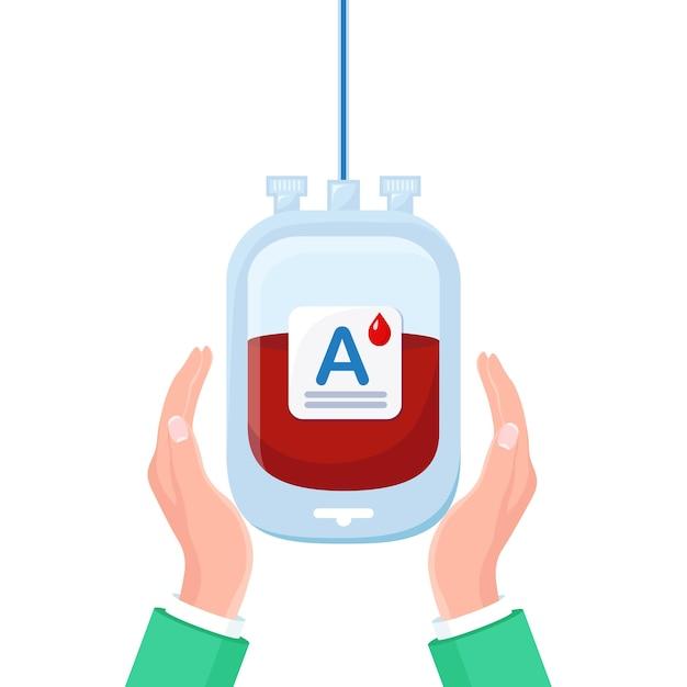 Worek Krwi Z Czerwoną Kroplą W Ręku Na Białym Tle. Premium Wektorów
