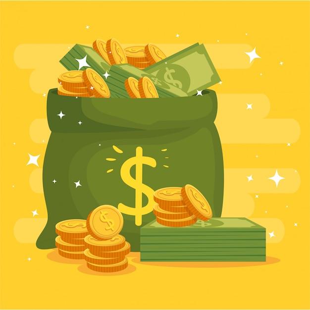 Worek Pieniędzy Z Monetami I Rachunkami Premium Wektorów