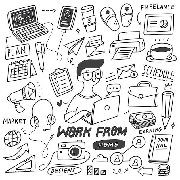 Work from home concept doodle set Premium Wektorów