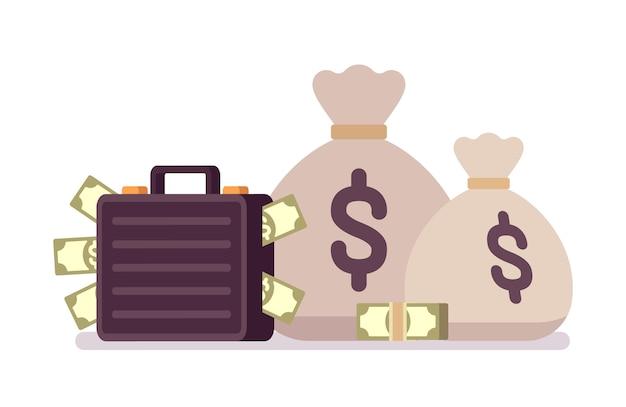 Worki i walizka pełna pieniędzy Premium Wektorów