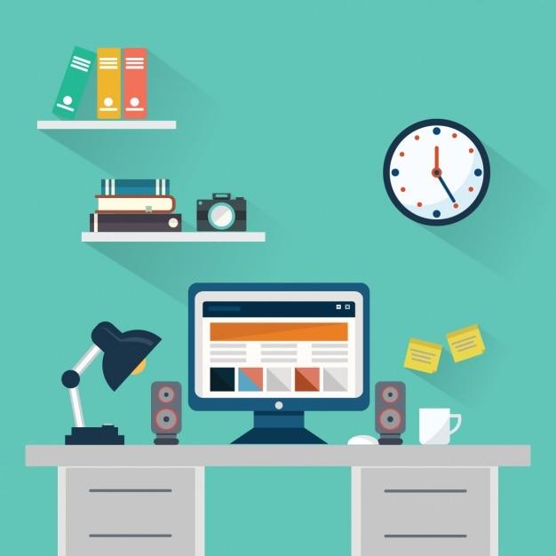 Workspace, płaski styl Darmowych Wektorów