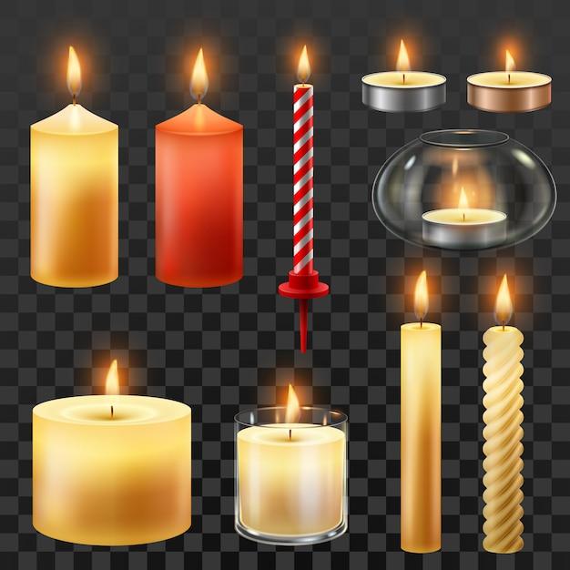 Wosk Romantyczne świeczki Na Przyjęcie świąteczne Na Białym Tle Zestaw Premium Wektorów