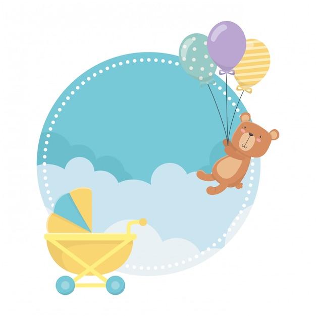 Wózek Dziecięcy I Miś Premium Wektorów