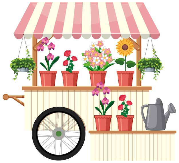 Wózek Sprzedawcy Na Białym Tle Kwiatów Darmowych Wektorów