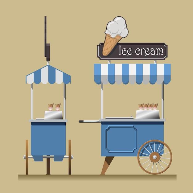 Wózek z lodami retro. Premium Wektorów