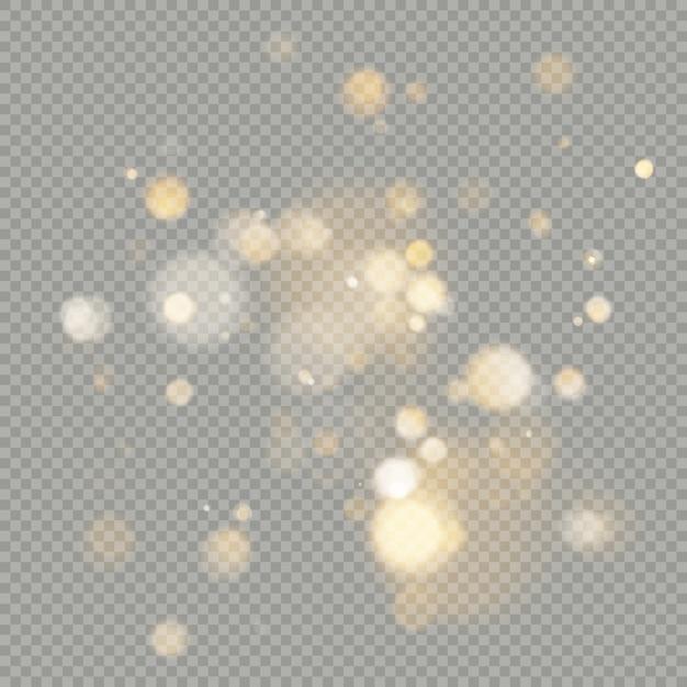 Wpływ Kół Bokeh Na Przezroczystym Tle. świąteczny świecący Ciepły Pomarańczowy Brokat, Którego Można Użyć. Premium Wektorów