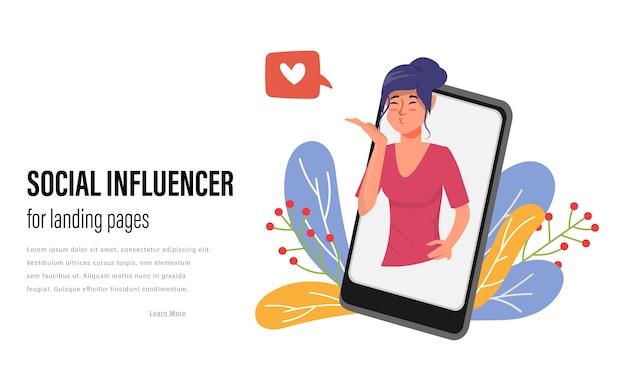 Wpływ Mediów Społecznościowych Na Strony Docelowe. Komunikacja Społeczna Trendów Internetowych. Premium Wektorów