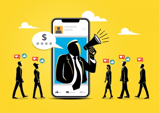Wpływ na marketing ilustracji Premium Wektorów