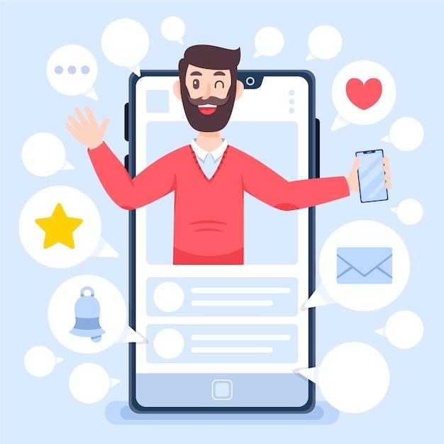 Wpływowy Człowiek I Przegląd Blogów Premium Wektorów