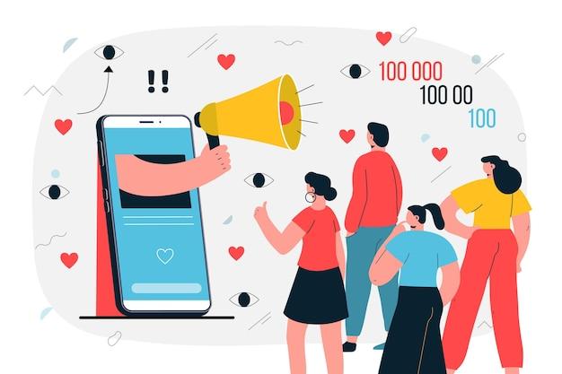 Wpływowy Na Ilustrację Do Mediów Społecznościowych Premium Wektorów