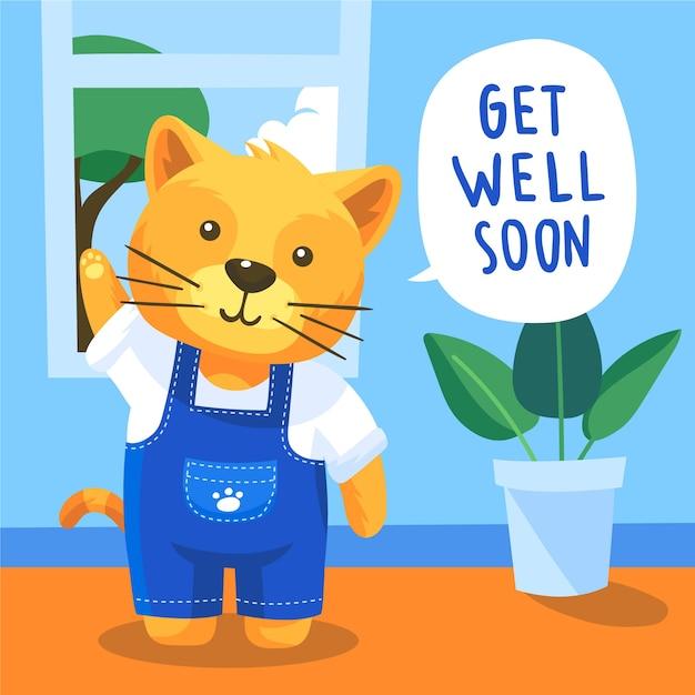 Wracaj Szybko Do Wiadomości Z Uroczym Kotem Darmowych Wektorów