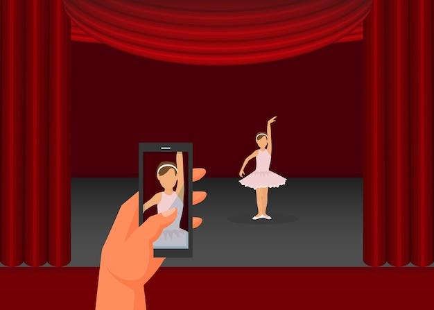 Wręcza Chwyta Telefon Komórkowego, Ojca Córki Dokumentacyjnego Wideo Występu Płaska Wektorowa Ilustracja. Mała Dziewczynka Taniec Balet, Sceny Czerwone Zasłony. Premium Wektorów