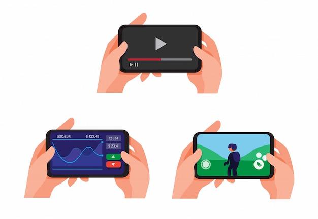 Wręcza Mienia Smartphone Bawić Się I Ogląda Wideo Leje Się Online, Wprowadzać Na Rynek Akcyjne Aplikacje I Bawić Się Strzelanki Gemowej Kolekci Ustalonego Ilustracyjnego Wektor Premium Wektorów