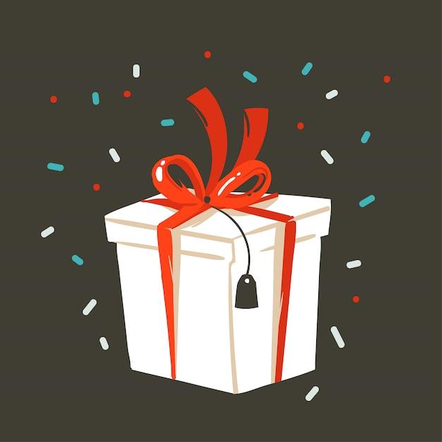 Wręcza Patroszoną Abstrakcjonistyczną Zabawę Wesoło Bożych Narodzeń I Szczęśliwego Nowego Roku Czasu Kreskówki Ilustracyjny Kartka Z Pozdrowieniami Z Xmas Niespodzianki Prezenta Pudełkiem I Confetti Na Czarnym Tle Premium Wektorów