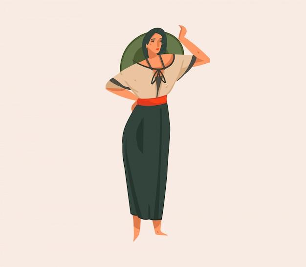 Wręcza Patroszoną Akcyjną Abstrakcjonistyczną Graficzną Ilustrację Z Dziewczyną W Kapeluszu I Mundurze Na Dzikim Safari Na Białym Tle Premium Wektorów