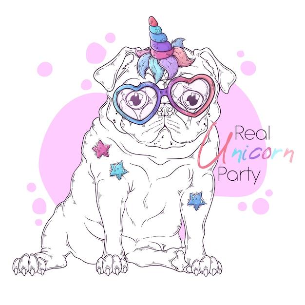 Wręcza Patroszoną Ilustrację Mopsa Pies Z Jednorożec Rogiem. Premium Wektorów