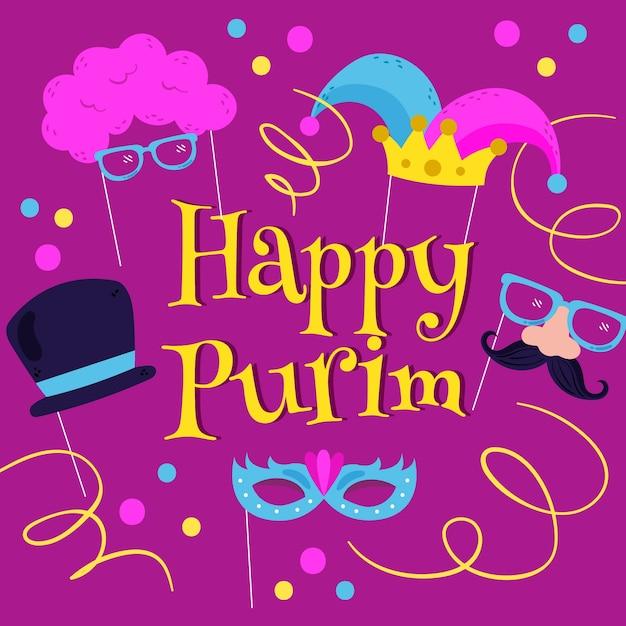 Wręcza Patroszoną Szczęśliwą Purim Dnia Ilustrację Z świętowanie Elementami Darmowych Wektorów