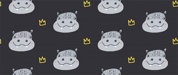 Wręcza Patroszoną Wektorową Bezszwową Deseniową Ilustrację śliczny śmieszny Hipopotam Premium Wektorów