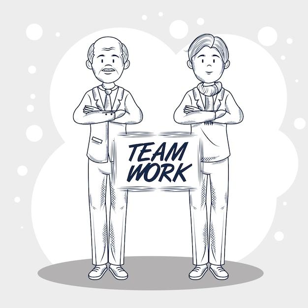 Wręcza patroszonych uncolored mężczyzna i pracę zespołową podpisujemy popielatą i białą tło wektoru ilustrację Premium Wektorów