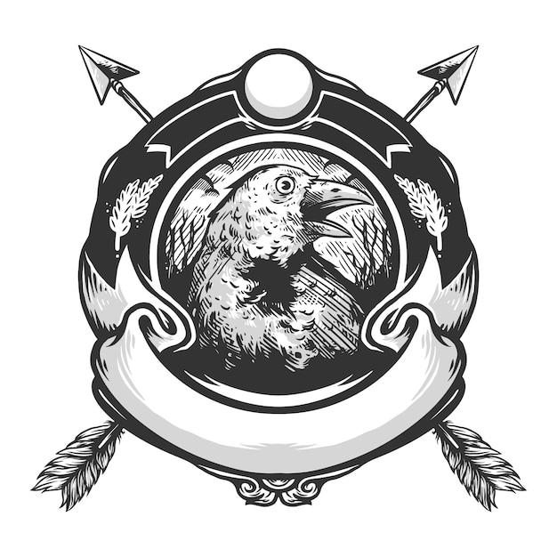 Wrona Logo Wektor Wzór Premium Wektorów