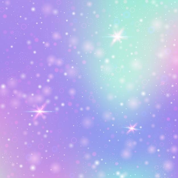 Wróżka Tło Z Tęczową Siatką. Dziewczęcy Sztandar Wszechświata W Kolorach Księżniczki. Fantasy Gradientowe Tło Z Hologramem. Holograficzne Z Magicznymi Iskierkami, Gwiazdami I Rozmyciem. Premium Wektorów