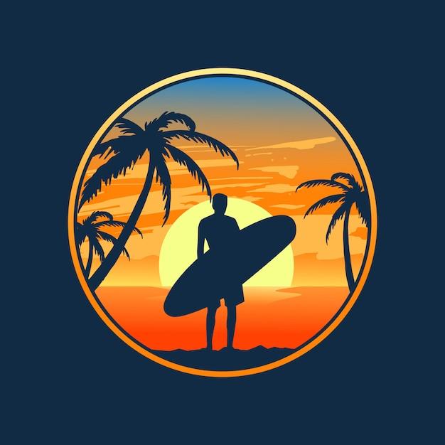 Wschód Słońca I Surfowanie Premium Wektorów