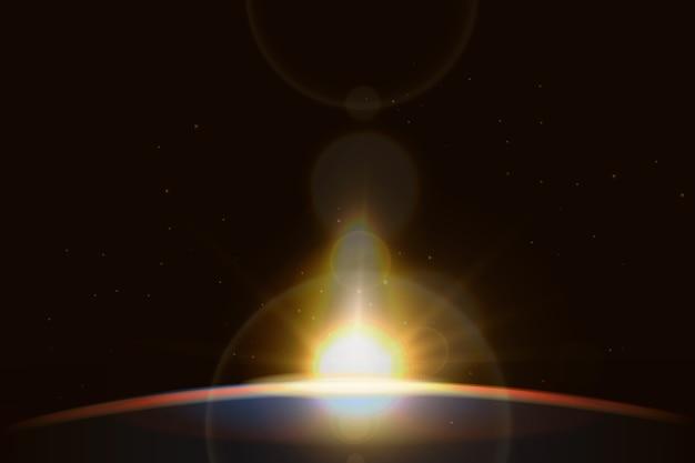 Wschód słońca z efekt świetlny bokeh Darmowych Wektorów
