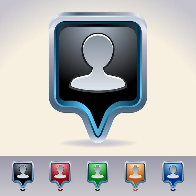 Wskaźniki Mapy. Osoba Błyszczący Sieci Web Przycisków. Premium Wektorów