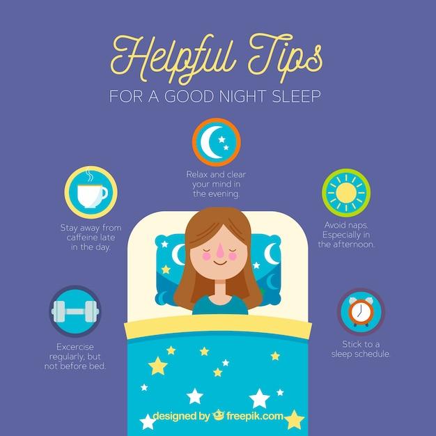 Wskazówki dotyczące dobrego snu w nocy Darmowych Wektorów