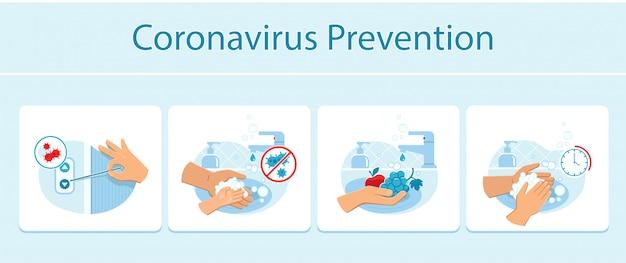 Wskazówki Dotyczące Zapobiegania Koronawirusom, Takie Jak Ręczne Naciśnięcie Przycisku Wywołania Windy Wykałaczką, Odpowiednie Mycie Rąk I Owoców. Premium Wektorów