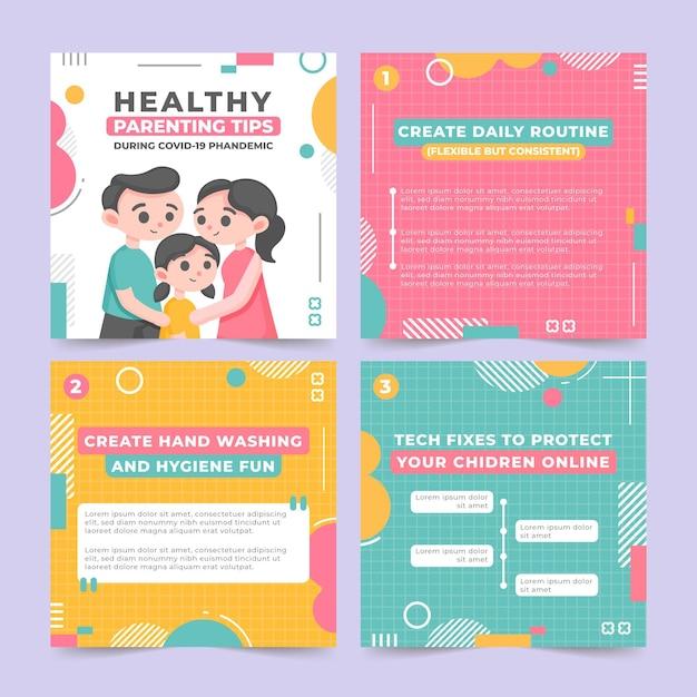 Wskazówki Dotyczące Zdrowego Rodzicielstwa Na Instagramie Darmowych Wektorów