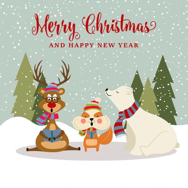 Wspaniała kartka bożonarodzeniowa z reniferem Premium Wektorów