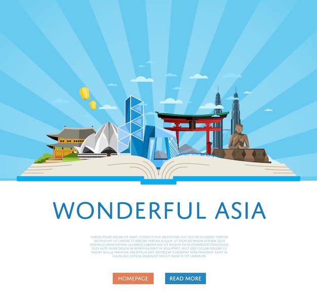 Wspaniały szablon podróży po azji ze słynnymi atrakcjami. Premium Wektorów