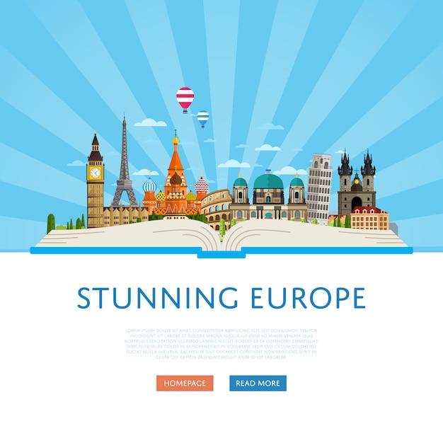 Wspaniały Szablon Podróży Po Europie Ze Słynnymi Atrakcjami. Premium Wektorów